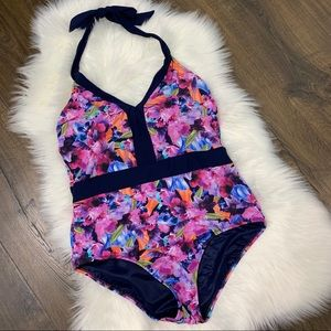 Lands' End Floral One Piece Swim Suit Size 14